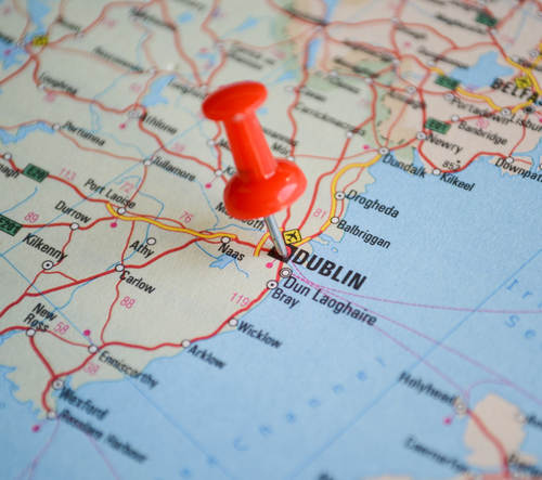 Close up of Dublin map with red pin - Travel concept